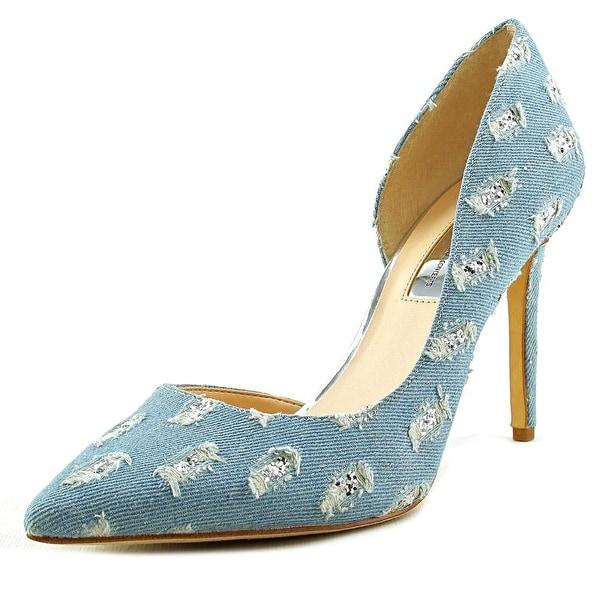 INC International Concepts Kenjay Women Pointed Toe Canvas Blue Heels