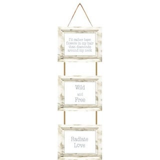 """PTM Images 174800 Rustic 3 Opening 30"""" x 10"""" Hanging Collage Frame - Black"""