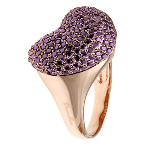 Forever Last 18 kt Gold Plated Women's Rose Plated Shiny Heart Ring with Violet Cz Stones