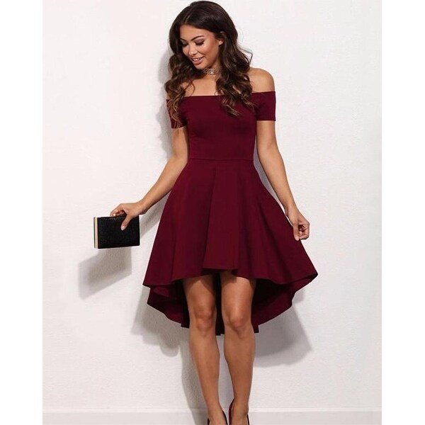 0ec45c4226 Shop Vintage midi off the shoulder dress-Burgundy-Large - Free Shipping On  Orders Over  45 - Overstock - 23109494