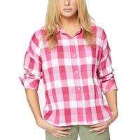 Sanctuary Pink White Womens Size Small S Plaid Button Down Shirt