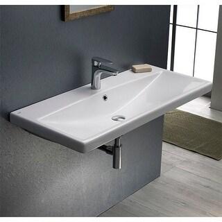 "Nameeks 032200-U  Elite 31-1/2"" Ceramic Wall Mounted/Drop in Bathroom Sink with 1 / 3 Faucet Holes Drilled"