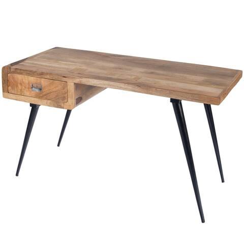 Natural Wood and Metal Desk