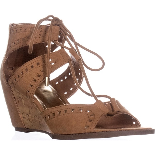 madden girl Rally Lace Up Wedge Sandals, Chestnut