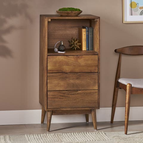 Rabun Indoor Mango Wood Handcrafted 3 Drawer Chest by Christopher Knight Home