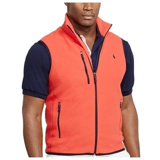 Polo Ralph Lauren Big and Tall Performance Full Zip Fleece Vest Red 4XLT