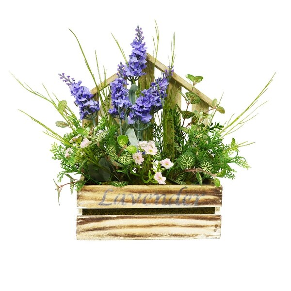 "12"" Artificial Flower Arrangement in Decorative Wooden Planter - N/A"