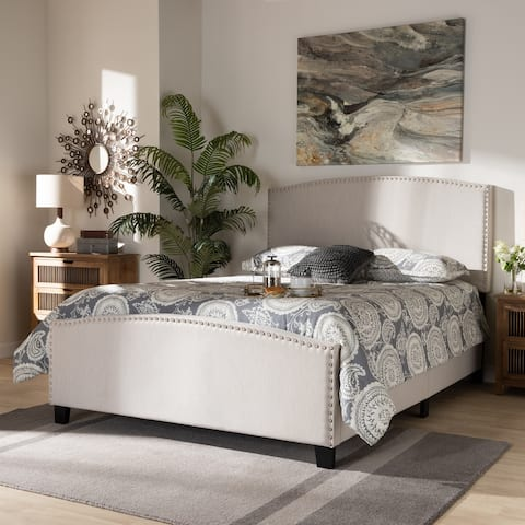 Morgan Modern Transitional Beige Fabric Upholstered King Size Panel Bed