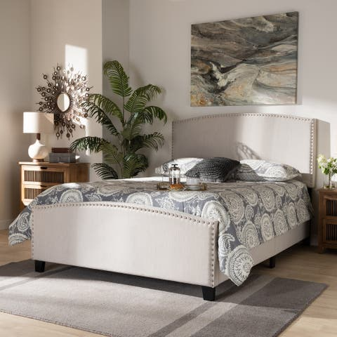 Morgan Modern Transitional Beige Fabric Upholstered Queen Size Panel Bed