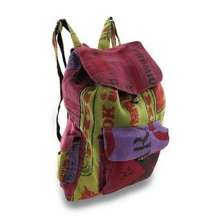 Recycled Rice Bag Colorful Burlap Drawstring Backpack
