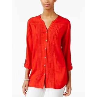 JM Collection Womens Cuffed Pleated Button up Top , Hot Red, PM