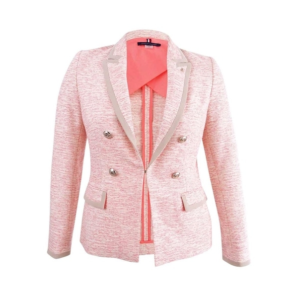 e90daf8481bd7c Shop Tommy Hilfiger Women's Double-Breasted Tweed Blazer (10, Bright  Pink/Ivory) - Bright Pink/Ivory - 10 - Free Shipping Today - Overstock -  26063425