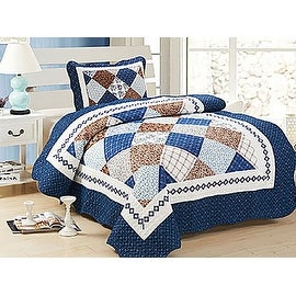 Twin MultiColor Blue White Brown Geometric Modern Design 2PCS Quilt Bedspread Set Bed Coverlet and Sham