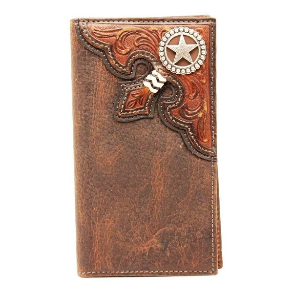 Nocona Western Wallet Mens Rodeo Checkbook Star Tooled Brown - One size