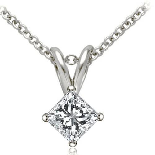 0.50 cttw. 14K White Gold Princess Cut Diamond 4-Prong Basket Solitaire Pendant - White H-I