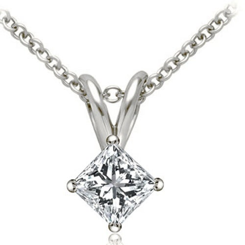 1.00 cttw. 14K White Gold Princess Cut Diamond 4-Prong Basket Solitaire Pendant - White H-I