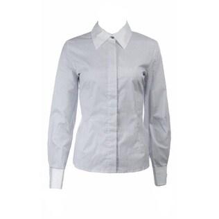 Sutton Studio Women's Cotton Stretch Stripe Shirt - Silver - 10P