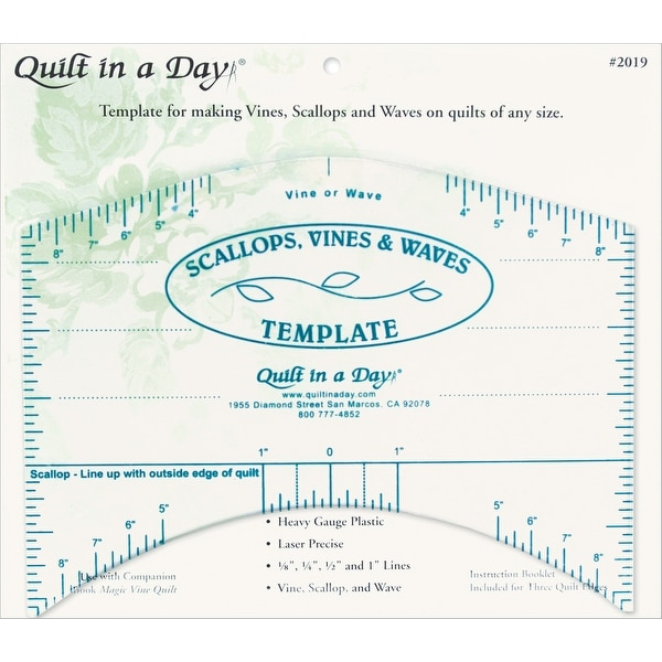 "Quilt In A Day Scallops, Vines & Waves Template-9""X7"""