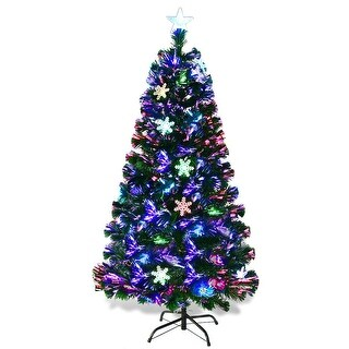 Gymax 6' Pre-Lit Multi-Color Lights Fiber Optic Artificial Christmas Tree with Snowflakes