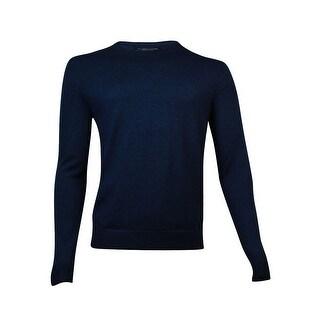 The Men's Store Men's Crewneck Merino Wool Sweater (M, Steel Blue)