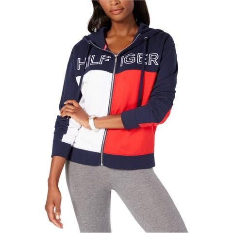 Tommy Hilfiger Womens Zip-Front Hoodie Sweatshirt, Blue, X-Small