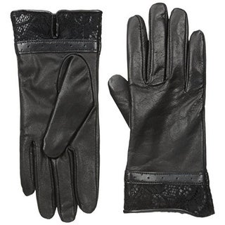 Isotoner Womens Leather Lace-Trim Leather Gloves - 6.5