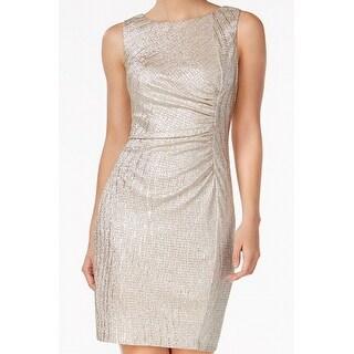 Calvin Klein Sand Women Ruched Metallic Sheath Dress