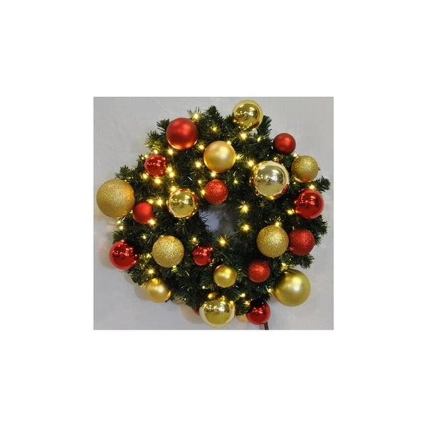 Christmas at Winterland WL-GWSQ-04-RG-LWW 4 Foot Pre-Lit Warm White Sequoia Wreath Decorated with Red and Gold Ornaments Indoor