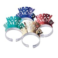 """Club Pack of 48 Multi-Colored """"Happy Birthday"""" Foil Tiara Party Hats"""
