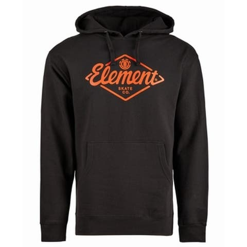 Element Mens Sweaters Black Size XL Logo Graphic-Print Hooded Pullover