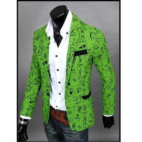 The New Men's Casual Slim Floral Fashion City Suit Jacket