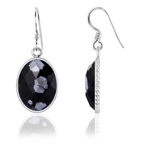 Snowflake Obsidian Sterling Silver Oval Dangle Earrings by Essence Jewelry
