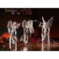 Pack of 3 Icy Crystal Decorative Religious Christmas Angel Figurines 10""