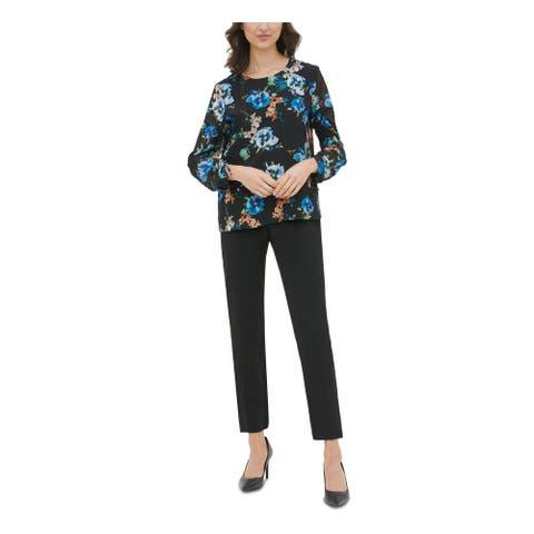 CALVIN KLEIN Black 3/4 Sleeve Blouse Top XL