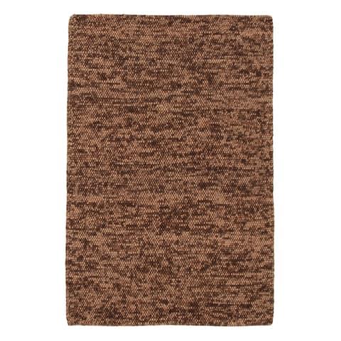 ECARPETGALLERY Braid weave Sienna Brown Wool Rug - 5'4 x 7'10