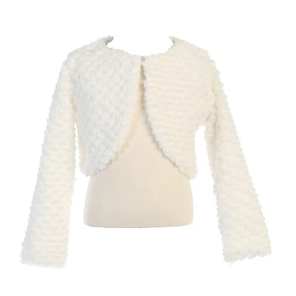 Baby Girls White Faux Fur Soft Swirl Long Sleeved Stylish Bolero 12-24M - 12-24 months