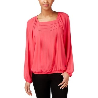 Grace Elements Womens Peasant Top Chiffon Pleated