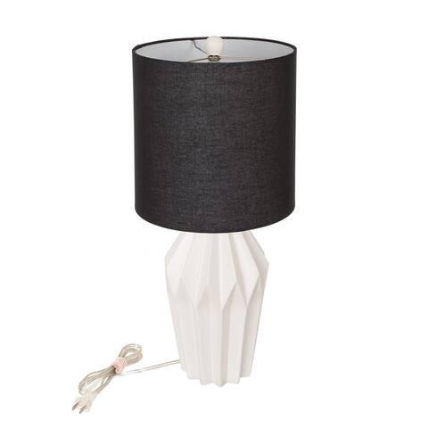 Glitzhome Matte Ceramic Table Lamp w/linen shade