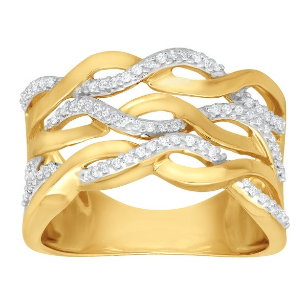 1/5 ct Diamond Wave Band Ring in 14K Gold