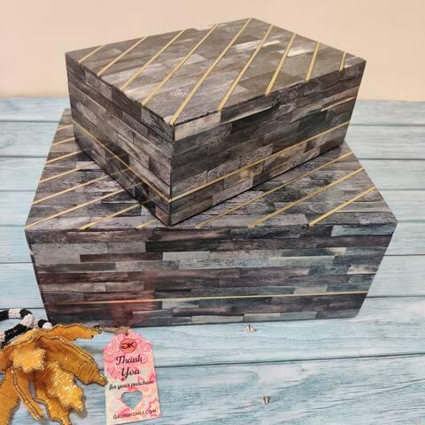 GAURI KOHLI Sinclair Bone Inlay Decor Box in Ash Gray (Set of 2)