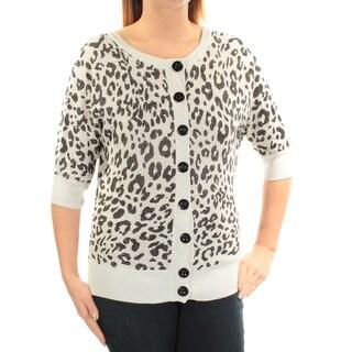 Womens Ivory Black Animal Print 3/4 Sleeve Jewel Neck Button Up Sweater Size L