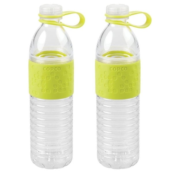 Copco Hydra Lime Green Reusable Water Bottle with Tethered Leak-proof Cap, 2 Pack