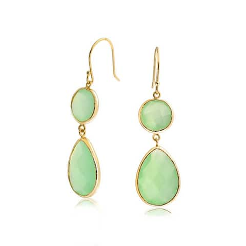Light Green Faceted Pear Shaped Teardrop Stone Dangle Earrings Imitation Chalcedony Quartz 14K Gold Plated 925 Sterling