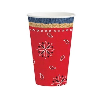 Club Pack of 96 Bandanarama Disposable Paper Hot and Cold Drinking Party Cups 12 oz.