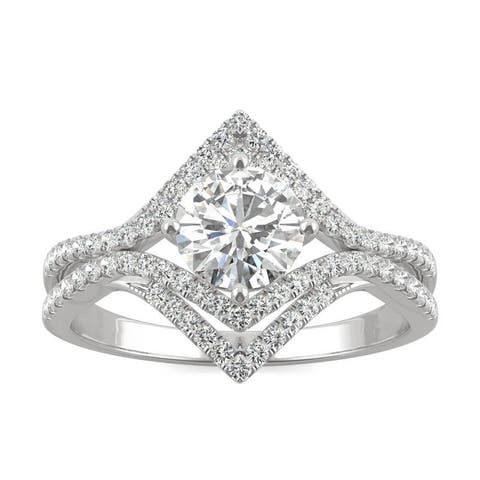 Moissanite by Charles & Colvard 14k White Gold 1.22 DEW Geometric Halo Ring