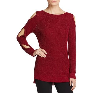 Love Scarlett Womens Pullover Sweater Metallic Cold Shoulder