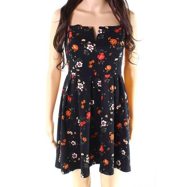 2b72c5c3d7 Shop Soprano Black Womens Size Large L Pleat Floral-Print Sheath ...