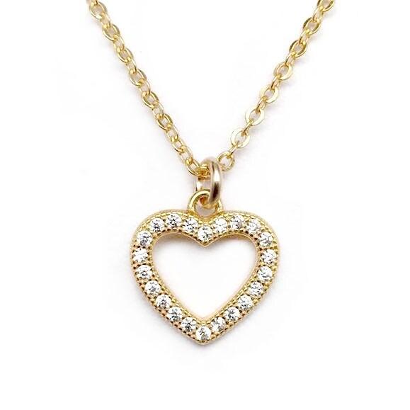"""Julieta Jewelry CZ Heart Gold Charm 16"""" Necklace"""
