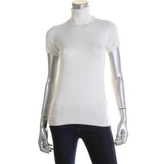 Zara Knit Womens Ribbed Trim Short Sleeves Turtleneck Sweater