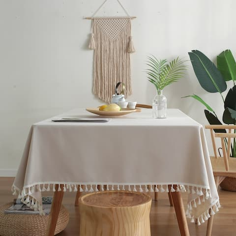 Enova Home High Quality Beige Rectangle Cotton and Linen Tablecloth